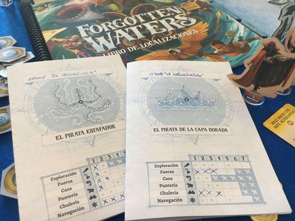 Hojas de piratas del juego de mesa Forgotten Waters