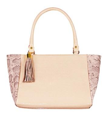 Cartera combinada con diferentes tonos de cuero rosa nude, Grace $2.500.