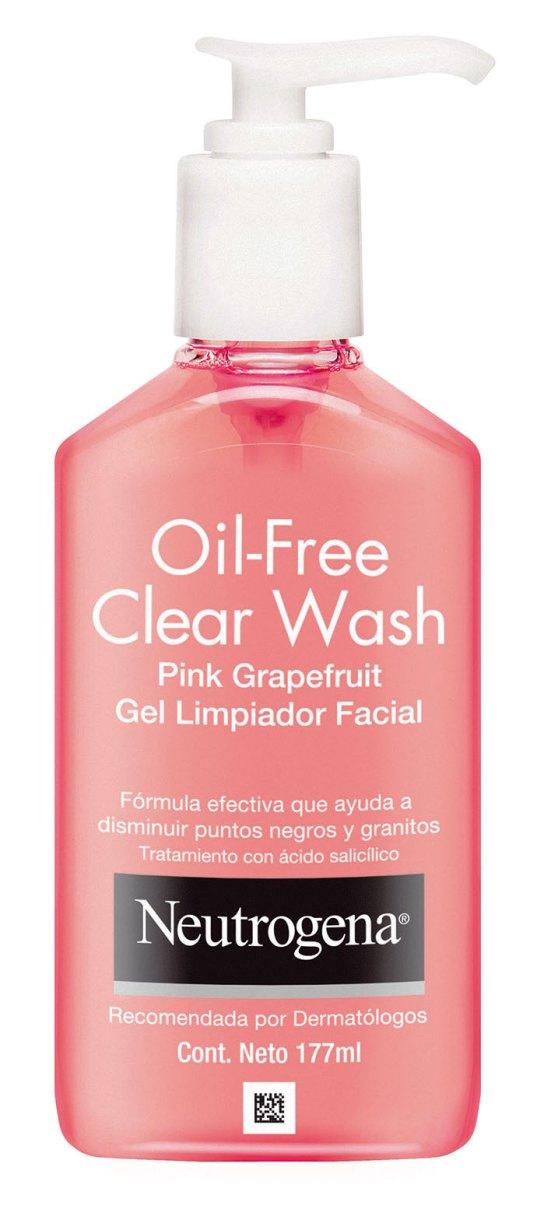 Gel de limpieza Oil- Free Clear Wash Pink, Neutrogena. Elimina la suciedad y grasitud de la piel sin resecarla, con una agradable y revitalizante fragancia de pomelo rosado.