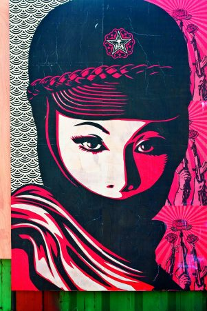 United States, Florida, Miami, Wynwood Art District, poster from American street artist Shepard Fairey, famous for his poster