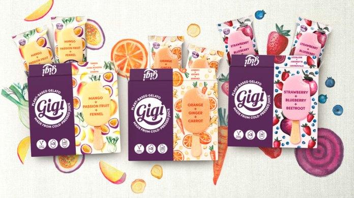 gigi: Ilustraciones de frutas y verduras en la nueva identidad de helados a base de plantas