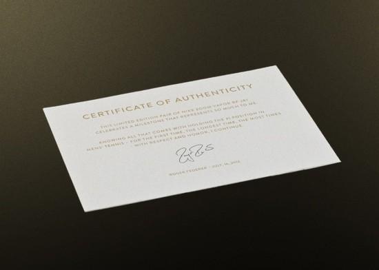 certificado federer nike