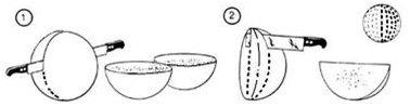 Quesos redondos (de bola). Estos quesos se cortan por la mitad y se vuelve a cortar sucesivamente hasta formar pequeñas medias lunas con las partes externas.