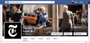 Muro de facebook del periódico The New York Times
