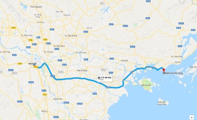 Ruta de Hanoi hacia Halong Bay