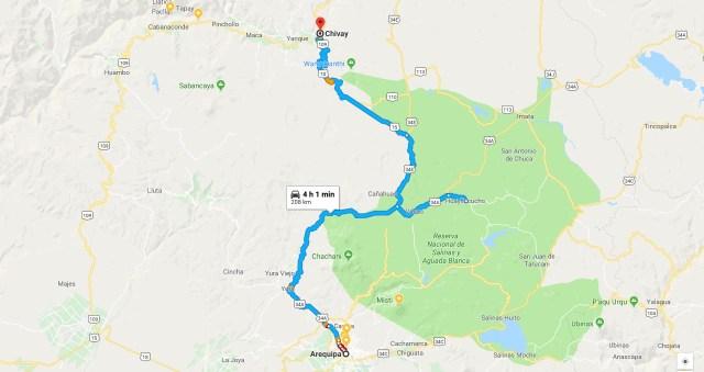 Ruta desde Arequipa a Chivay