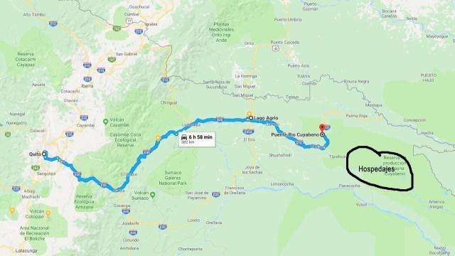 Ruta desde Quito a Lago Agrio y luego al Puente de Cuyabeno