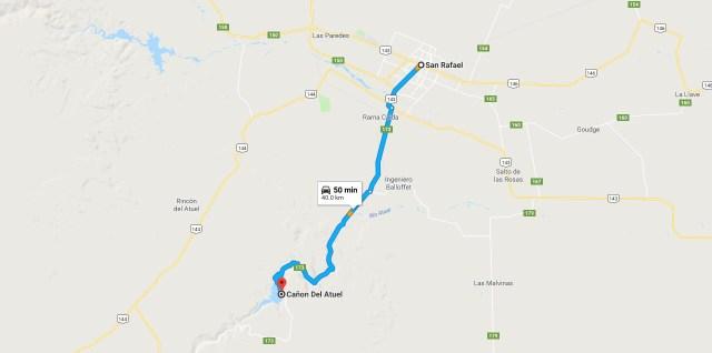 Como llegar desde San Rafael al Cañón del Atuel