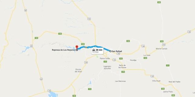 Como llegar desde San Rafael a Los Reyunos