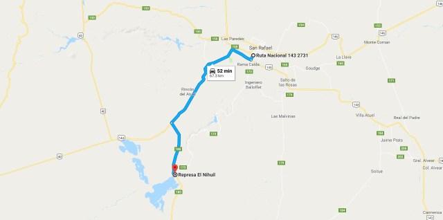 Como llegar desde San Rafael al Embalse el Nihuil
