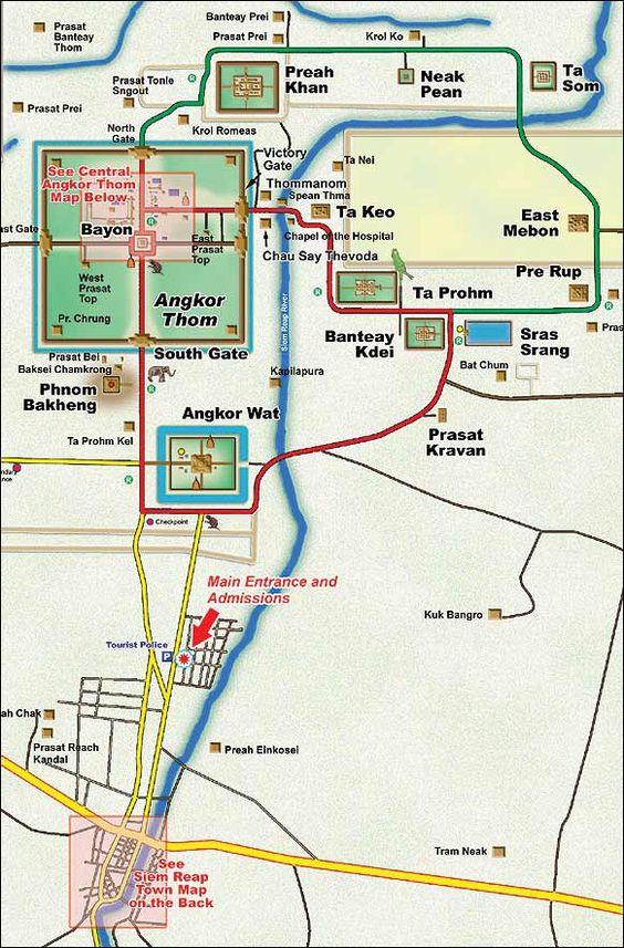 Plano del Complejo Angkor.  La ruta roja es el circuito chico, mientras que la verde es el largo