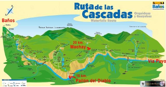 Mapa de las Rutas de las Cascadas