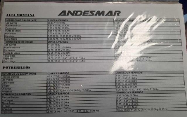 Horarios de los buses de Andesmar para ir a Alta Montaña y Potrerillos