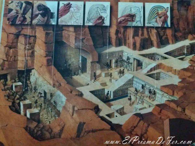 Dibujo mostrando como construyeron las tumbas del Valle de los Reyes hace miles de años