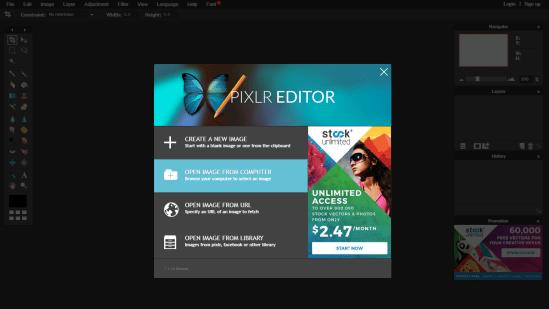Editor online Pixlr