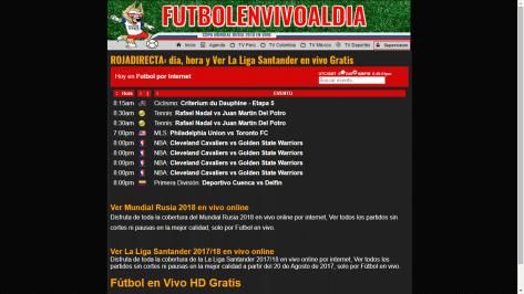 Futbol en vivo al dia - Web para ver futbol gratis online