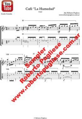 Ejemplo en TAB de de la partitura para guitarra del tango Cafe La Humedad, arreglado para guitarra por el maestro Roberto Pugliese
