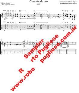 Corazon De Oro - ejemplo de la partitura para guitarra - arreglo de Roberto Pugliese