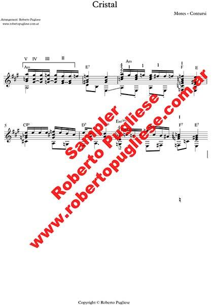 Cristal - ejemplo de la partitura del arreglo del tango para guitarra por el maestro Roberto Pugliese