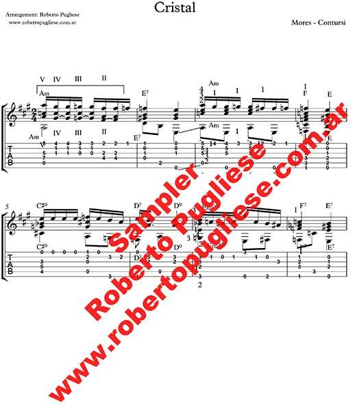 Cristal - ejemplo de la partitura del arreglo del tango para guitarra por el maestro Roberto Pugliese - tab