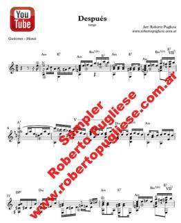 Despues - tango guitarra ejemplo de la partitura para guitarra - Arreglo Roberto Pugliese