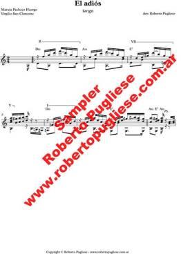 El adios - tango - Ejemplo de la partitura para guitarra arreglo del maestro Roberto Pugliese