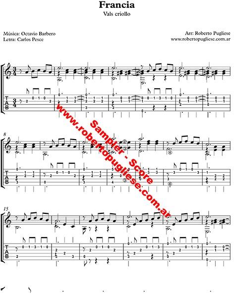 Francia vals criollo. ejemplo de la partitura para guitarra, arreglo del maestro argentino Roberto Pugliese - con video y tab