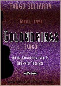 Golondrinas - tapa de la partitura para guitarra del tango de Gardel. Arreglo del maestro argentino Roberto Pugliese. Con video
