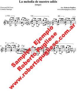 Ejemplo de La melodia de nuestro adios - tapa de la partitura para guitarra arreglo del maestro Roberto Pugliese