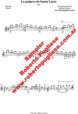 Ejemplo de La pulpera de Santa Lucía - tapa de la partitura para guitarra solista arreglo del maestro Roberto Pugliese