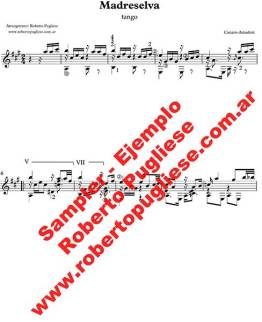 Ejemplo de la partitura Madreselva para guitarra, en un arreglo del maestro argentino Roberto Pugliese