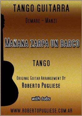 Mañana zarpa un barco - tapa de la partitura para guitarra , arreglo del maestro argentino Roberto Pugliese