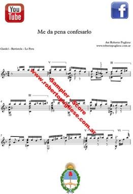 Me da pena confesarlo - ejemplo de la partitura para guitarra, arreglo del maestro argentino Roberto Pugliese.