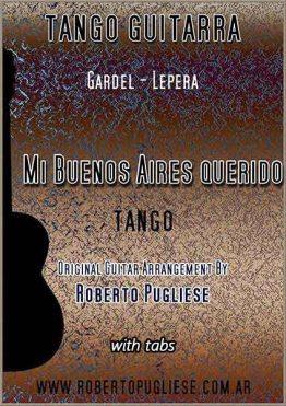 Mi Buenos Aires querido - tapa de la partitura del tango en guitarra, en un arreglo del maestro argentino Roberto Pugliese