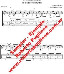 """""""Milonga sentimental"""" ejemplo tab de la partitura para guitarra, en un arreglo del maestro argentino Roberto Pugliese, con video."""