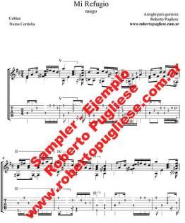 Mi refugio Tango - ejemplo de la partitura para guitarra con video en un arreglo de Roberto Pugliese. tab