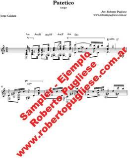 Ejemplo del tango Patetico de Caldara en un arreglo para guitarra de Roberto Pugliese.