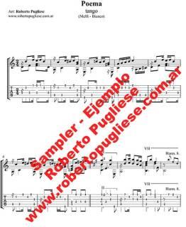 """Ejemplo de la partitura del tango """"Poema"""" - arreglo de guitarra por Roberto Pugliese. Video - tablatura"""