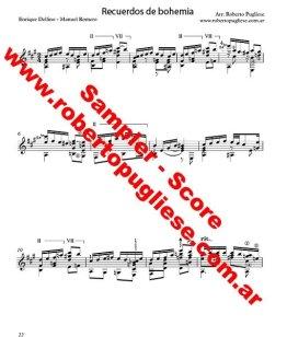Recuerdos de bohemia - tango para guitarra arreglo de Roberto Pugliese con video. ejemplo de la partitura