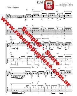 Ejemplo de la partitura del tango Rubi de Cobian y Cadicamo en un arreglo del maestro argentino Roberto Pugliese. Tablatura