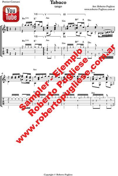 EJEMPLO de Tabaco tango partitura de guitarra. De Pontier y José María Contursi en un arreglo del maestro Roberto Pugliese. Con video y tab - tablatura