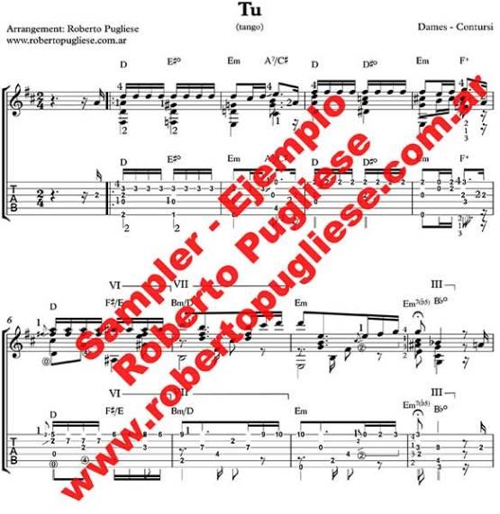 EJEMPLO de Tu Tango partitura para guitarra, arreglo de Roberto Pugliese con video. Tab