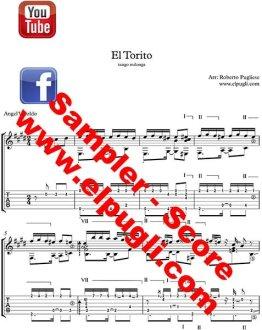 El torito Tango ejemplo de la partitura de guitarra por Roberto Pugliese, con video, tab y audio gratis