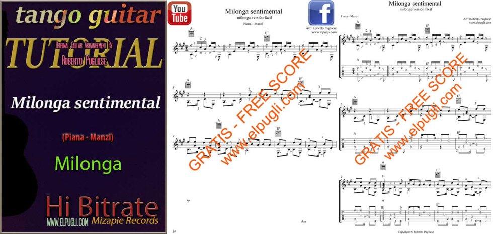 Ejemplo de la partitura gratis del tutorial de la Milonga sentimental para guitarra por Roberto Pugliese