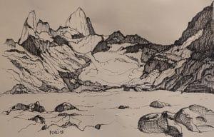 Chaltén dibujo perteneciente el video instrumental por Roberto Pugliese