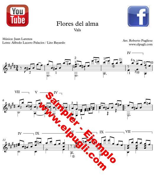 Ejemplo de la partitura Flores del alma vals criollo guitarra
