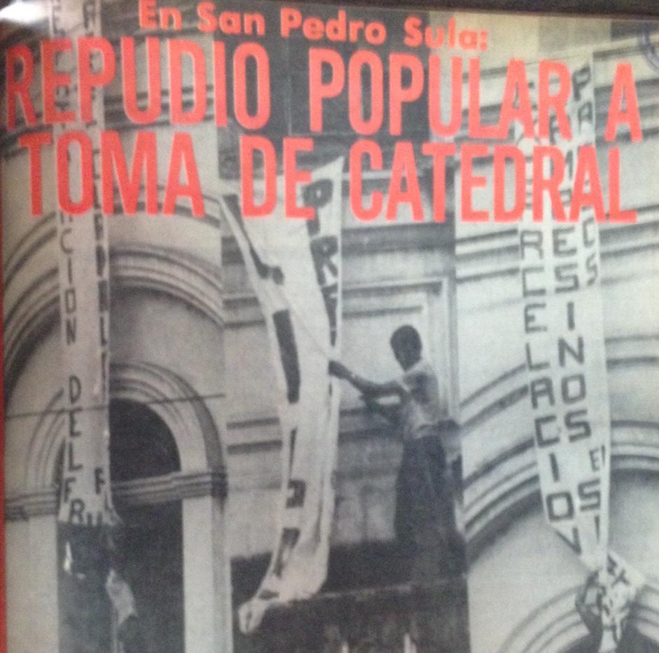 Pordada del diario La Prensa, el día de la toma de la catedral de San Pedro Sula.
