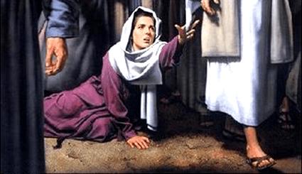 Jesús y la mujer con flujo de sangre, enferma, borde de su manto, borde