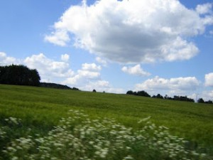 paisaje, colina, cerro, cielo, nubes, bosquejo