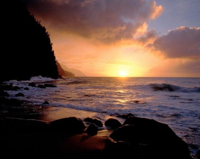 puesta de sol, atardecer, bosquejo, paisaje